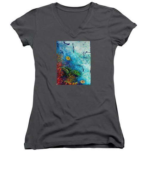 Turtle Wall 1 Women's V-Neck T-Shirt