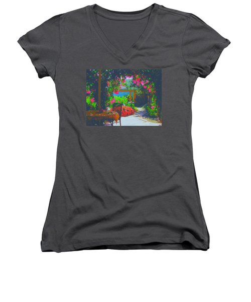 Women's V-Neck T-Shirt (Junior Cut) featuring the painting Tuscan Courtyard by Tim Gilliland