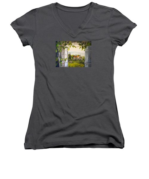 Tuscan View Women's V-Neck T-Shirt (Junior Cut) by Alan Lakin