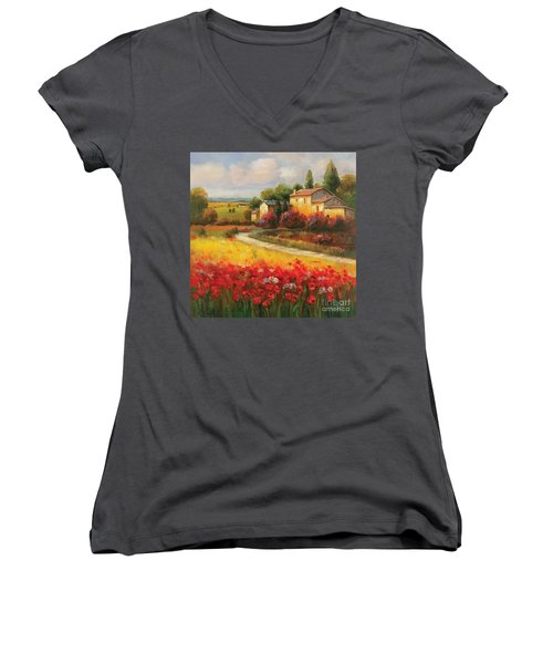 Tuscan Villa  Women's V-Neck T-Shirt (Junior Cut)