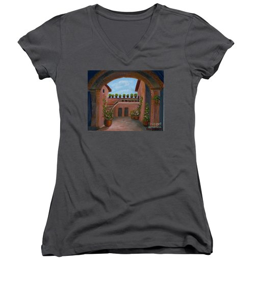 Women's V-Neck T-Shirt (Junior Cut) featuring the painting Tuscany Arch by Becky Lupe