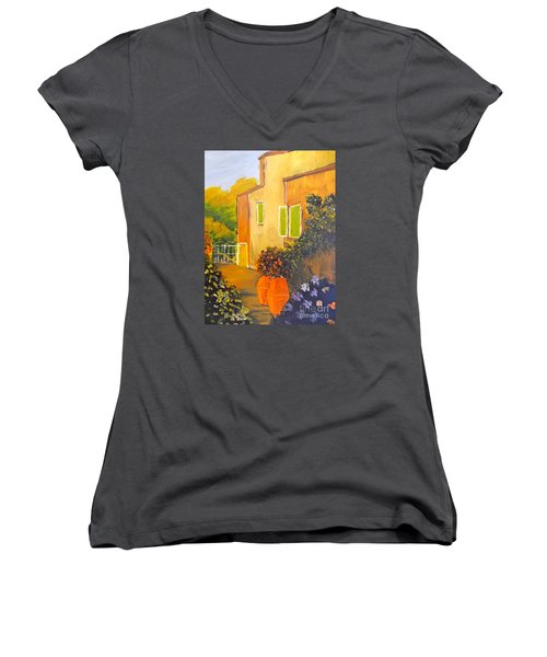 Women's V-Neck T-Shirt (Junior Cut) featuring the painting Tuscany Courtyard by Pamela  Meredith