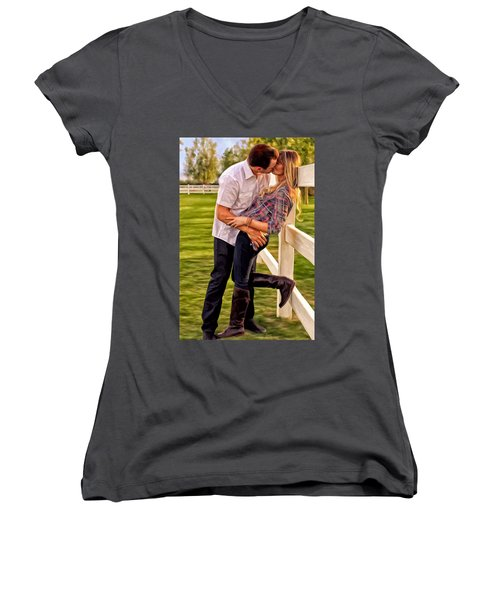 Women's V-Neck T-Shirt (Junior Cut) featuring the painting Twas Not My Lips You Kissed But My Soul by Michael Pickett