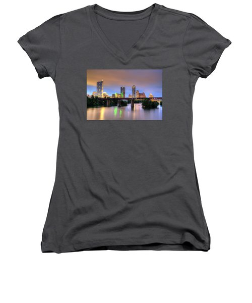 Twilight On The Lake Women's V-Neck T-Shirt (Junior Cut) by Dave Files