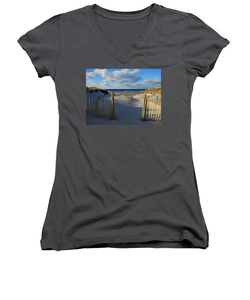 Golden Hour Beach Women's V-Neck T-Shirt (Junior Cut) by Dianne Cowen