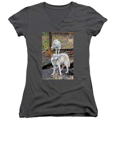 Twin Wolves Women's V-Neck T-Shirt (Junior Cut) by Athena Mckinzie