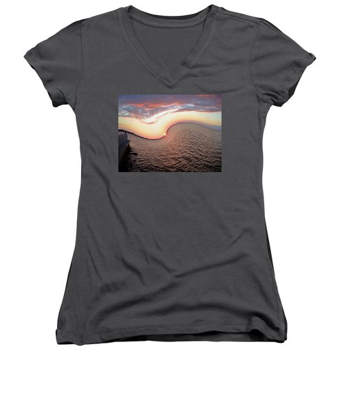 Women's V-Neck T-Shirt (Junior Cut) featuring the photograph Twisted Sunset by Aimee L Maher Photography and Art Visit ALMGallerydotcom