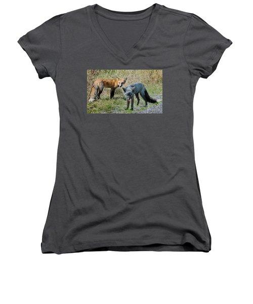 Two Fox Seattle Women's V-Neck T-Shirt (Junior Cut) by Jennie Breeze