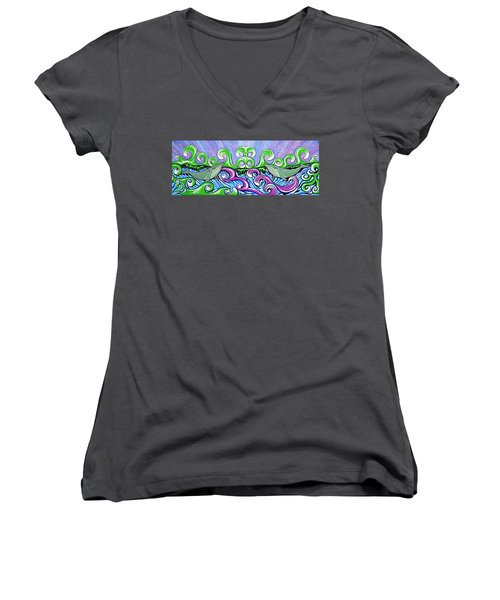 Two Gray Whales Women's V-Neck T-Shirt (Junior Cut) by Debbie Chamberlin