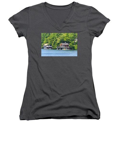 Two Luxury Boathouses Women's V-Neck T-Shirt (Junior Cut) by Les Palenik