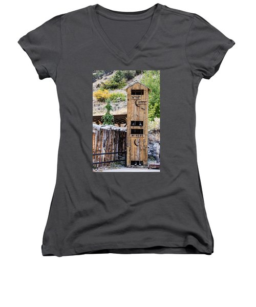 Women's V-Neck T-Shirt (Junior Cut) featuring the photograph Two-story Outhouse by Sue Smith