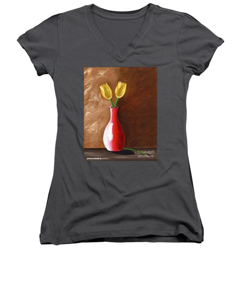 Two Tulips And A Pink Rose Women's V-Neck T-Shirt