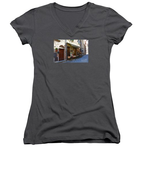 Women's V-Neck T-Shirt (Junior Cut) featuring the photograph Typical Small Shop In Tuscany by Ramona Matei