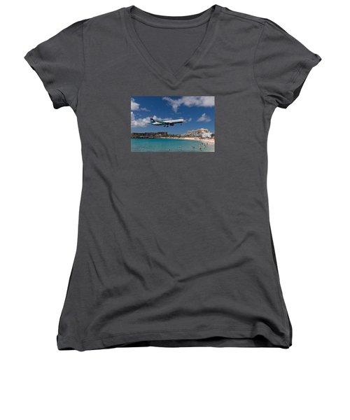 U S Airways Low Approach To St. Maarten Women's V-Neck T-Shirt (Junior Cut) by David Gleeson