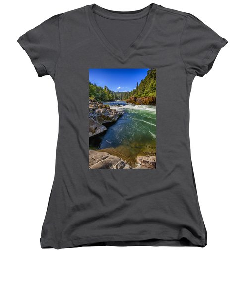Umpqua River Women's V-Neck T-Shirt (Junior Cut) by David Millenheft
