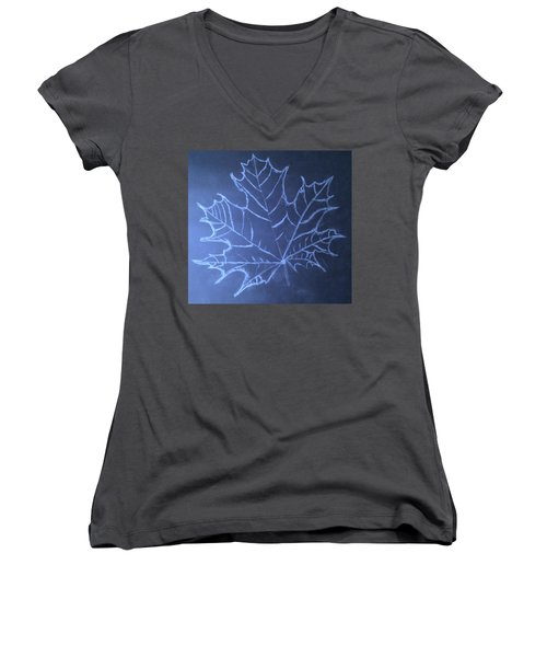 Women's V-Neck T-Shirt (Junior Cut) featuring the drawing Uncertaintys Leaf by Jason Padgett