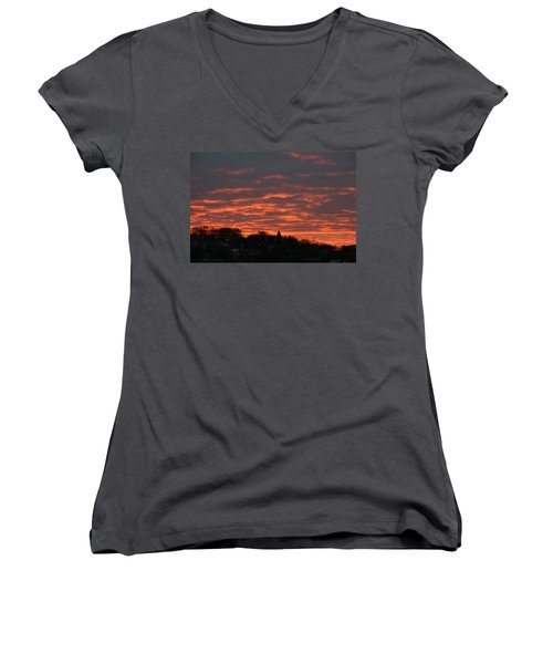 Women's V-Neck T-Shirt (Junior Cut) featuring the photograph Under A Blood Red Sky by Neal Eslinger