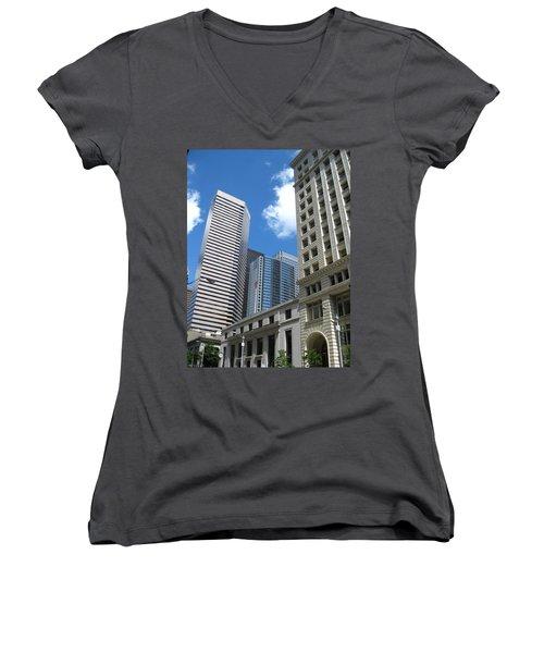 Under Seattle Blue Women's V-Neck T-Shirt (Junior Cut) by David Trotter