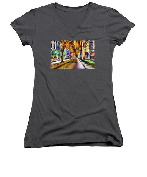 Under The El - 20 Women's V-Neck T-Shirt (Junior Cut) by Ely Arsha