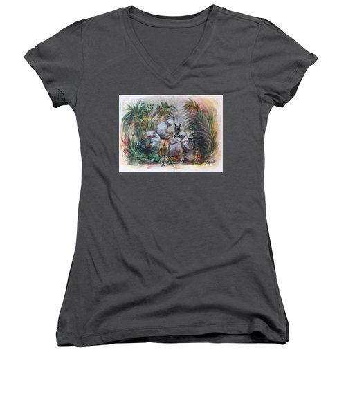 Women's V-Neck T-Shirt (Junior Cut) featuring the painting Under The Palm Trees At The Oasis by Laila Awad Jamaleldin