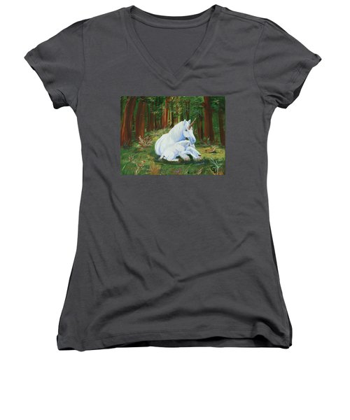 Unicorns Lap Women's V-Neck (Athletic Fit)