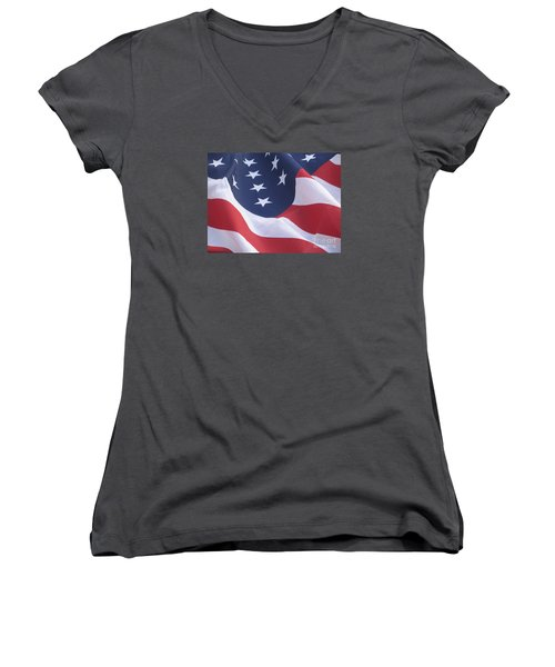 Women's V-Neck T-Shirt (Junior Cut) featuring the photograph United States Flag  by Chrisann Ellis