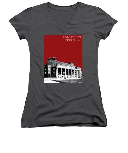 University Of Minnesota - Coffman Union - Dark Red Women's V-Neck (Athletic Fit)