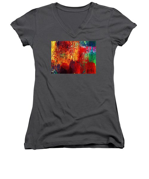Untamed Colors  Women's V-Neck T-Shirt (Junior Cut) by Prakash Ghai