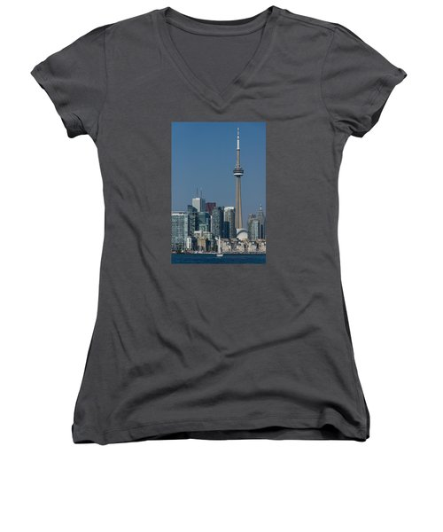 Up Close And Personal - Cn Tower Toronto Harbor And Skyline From A Boat Women's V-Neck T-Shirt (Junior Cut) by Georgia Mizuleva