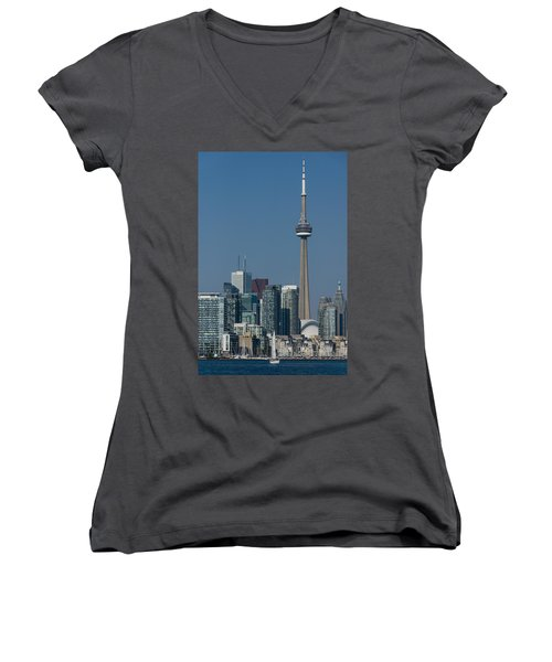 Up Close And Personal - Cn Tower Toronto Harbor And Skyline From A Boat Women's V-Neck