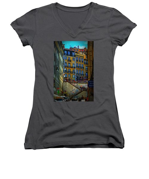 Up The Stairs - Lisbon Women's V-Neck T-Shirt
