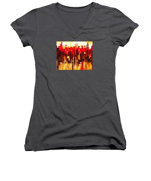 Urban Abstract Glowing City Women's V-Neck T-Shirt (Junior Cut) by Irina Sztukowski