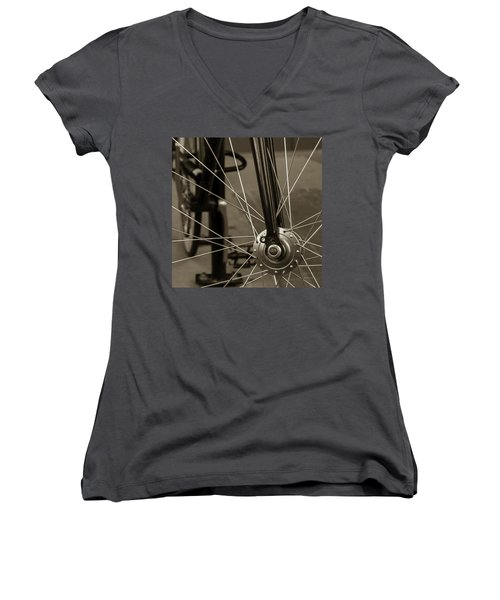 Urban Spokes In Sepia Women's V-Neck T-Shirt (Junior Cut)