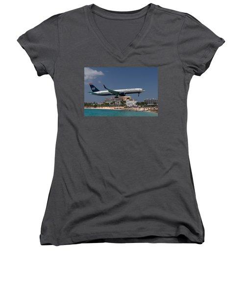 U S Airways At St Maarten Women's V-Neck T-Shirt (Junior Cut) by David Gleeson