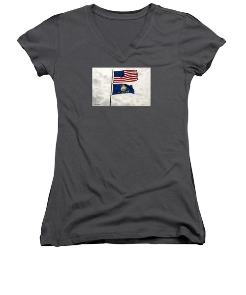 Women's V-Neck T-Shirt (Junior Cut) featuring the photograph Us And Kansas Flags by Sue Smith