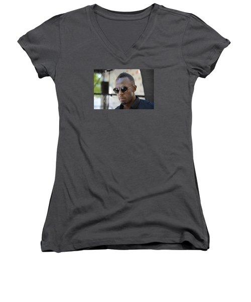 Usain Bolt - The Legend 3 Women's V-Neck (Athletic Fit)