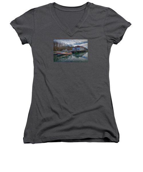 Usgs Castle Hill Station Women's V-Neck T-Shirt (Junior Cut) by Joan Carroll