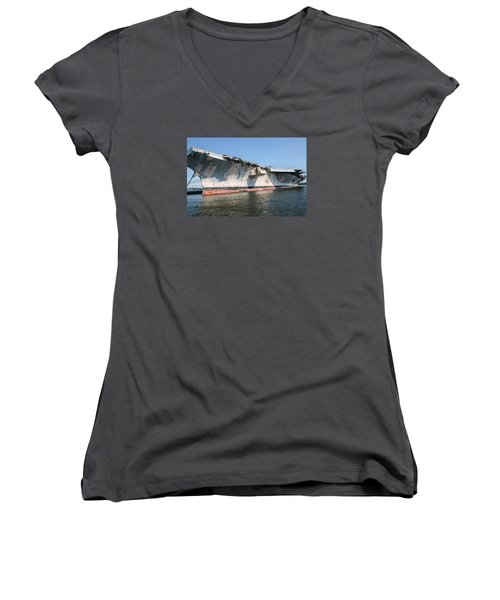 Uss John F. Kennedy Women's V-Neck T-Shirt (Junior Cut) by Susan  McMenamin