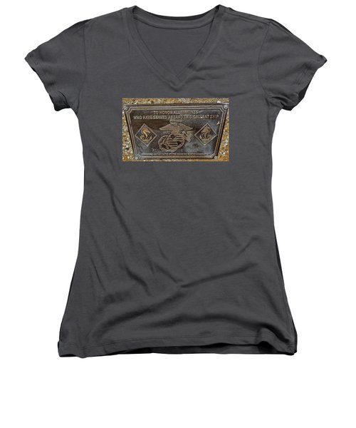 Women's V-Neck T-Shirt (Junior Cut) featuring the photograph U.s.s. San Francisco Memorial Land's End by Bill Owen