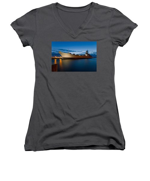 Uss Wisconsin At Sunset Women's V-Neck T-Shirt