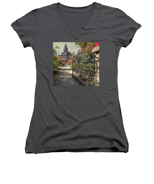 Vaile Landscape And Gate Women's V-Neck T-Shirt (Junior Cut) by Liane Wright