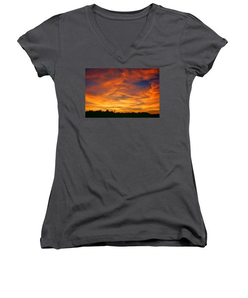 Women's V-Neck T-Shirt (Junior Cut) featuring the photograph Valentine Sunset by Tammy Espino