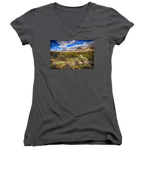 Women's V-Neck T-Shirt (Junior Cut) featuring the photograph Valley View 27 by Mark Myhaver