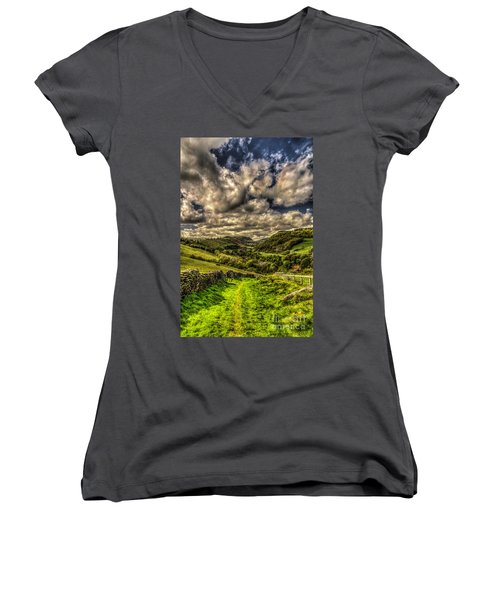 Valley View Women's V-Neck T-Shirt (Junior Cut) by Steve Purnell