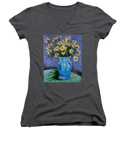 Van Gogh-ish Flowers In A Vase Women's V-Neck (Athletic Fit)