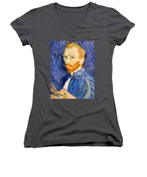 Women's V-Neck T-Shirt (Junior Cut) featuring the photograph Van Gogh On Van Gogh by Cora Wandel