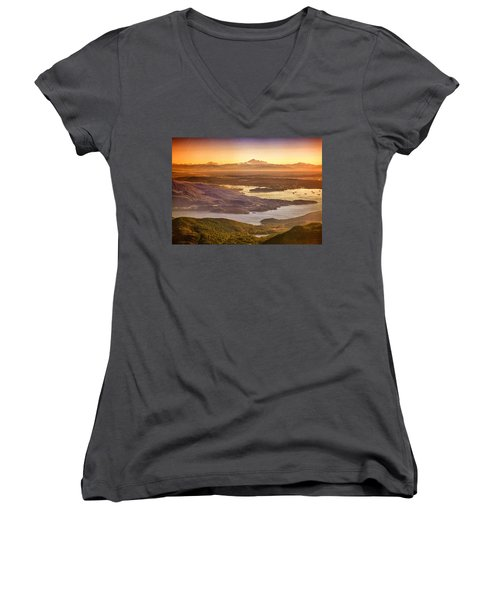 Vancouver And Mt Baker Aerial View Women's V-Neck T-Shirt (Junior Cut) by Eti Reid