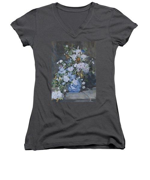 Vase Of Flowers - Reproduction Women's V-Neck T-Shirt
