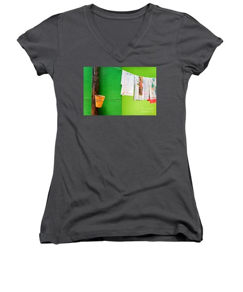 Women's V-Neck T-Shirt (Junior Cut) featuring the photograph Vase Towels And Green Wall by Silvia Ganora