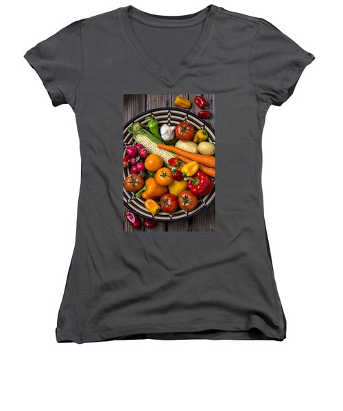 Vegetable Basket    Women's V-Neck T-Shirt (Junior Cut) by Garry Gay